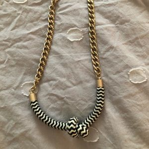 Nautical Rope & Chain Necklace Blue/White/Gold